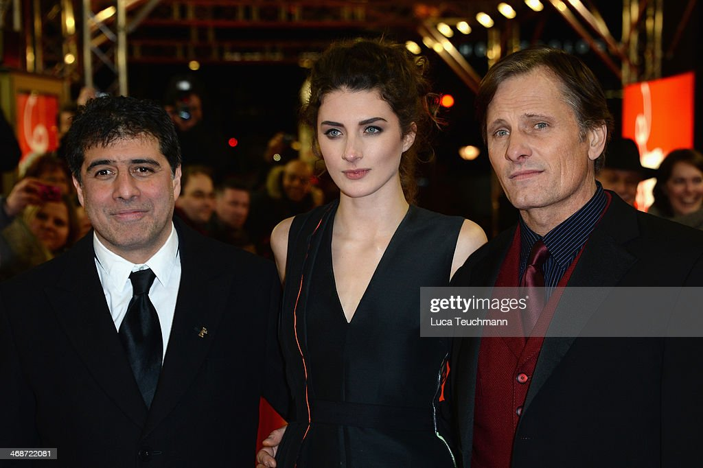 Director Hossein Amini, actress <a gi-track='captionPersonalityLinkClicked' href=/galleries/search?phrase=Daisy+Bevan&family=editorial&specificpeople=799751 ng-click='$event.stopPropagation()'>Daisy Bevan</a> and actor <a gi-track='captionPersonalityLinkClicked' href=/galleries/search?phrase=Viggo+Mortensen&family=editorial&specificpeople=239525 ng-click='$event.stopPropagation()'>Viggo Mortensen</a> attend 'The Two Faces of January' (Die zwei Gesichter des Januars) premiere during 64th Berlinale International Film Festival at Zoo Palast on February 11, 2014 in Berlin, Germany.