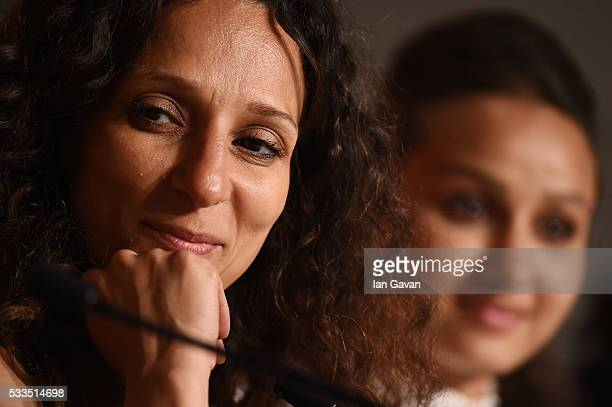 Director Houda Benyamina winner of Camera d'Or for 'Divine' attends the Palme D'Or Winner Press Conference during the 69th annual Cannes Film...