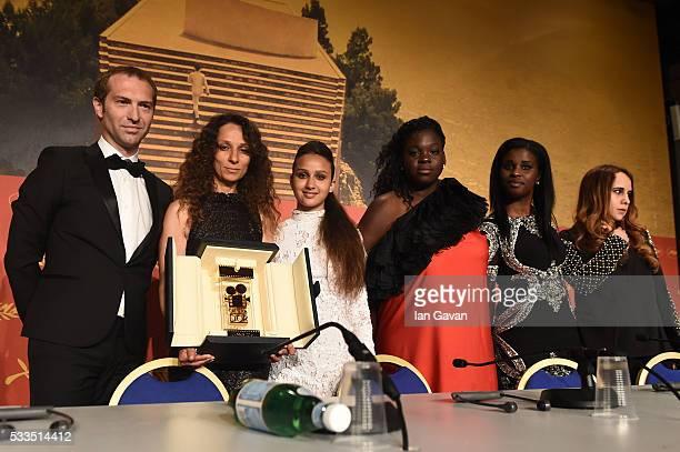 Director Houda Benyamina winner of Camera d'Or for 'Divine' with actresses Oulaya Amamra Deborah Lukumuena Jisca Kalvanda and Majdouline Idrissi...