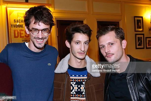 Director Hugo Gelin actors Pierre Niney and Nicolas Duvauchelle attend the FrançoisXavier Demaison show 'Demaison S'Evade' Premiere at Theatre...