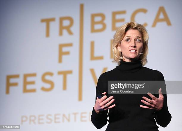 Director IBM Watson Ecosystem Lauri Saft speaks during the IBM Next Frontier Man and Machine Side by Side forum during the 2015 Tribeca Film Festival...