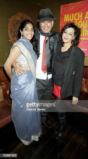 Director Iqbal Khan poses with cast members Amara Karan and Meera Syal at an after party following the Press Night performance of the RSC's 'Much Ado...