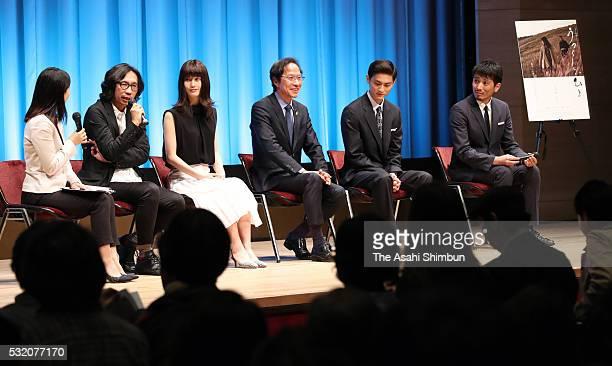 Director Isao Yukisada actress Ai Hashimoto political scientist Kang Sangjung actors Kengo Kora and Ryotaro Yonemura attend the movie 'Utsukushii...