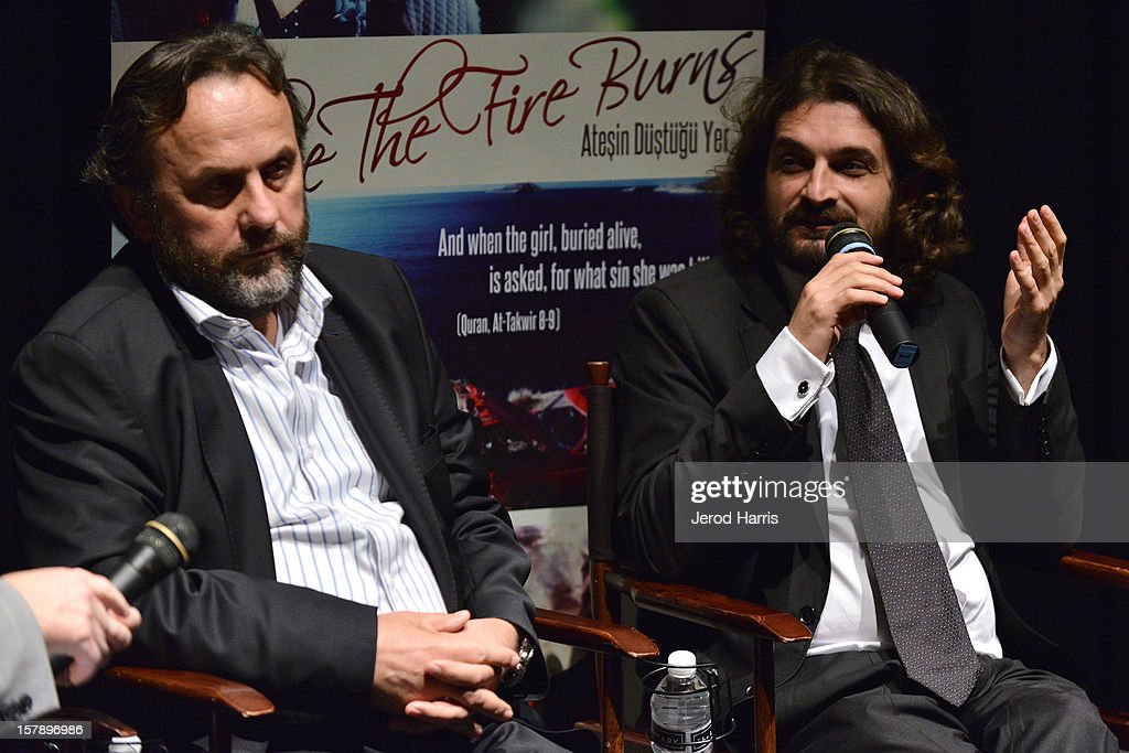 Director Ismail Gunes and producer Baran Seyhan participate in a Q&A session following TheWrap's Awards Season Screening Series of Atesin Dustugu Yer 'Where The Fire Burns' on December 6, 2012 in Los Angeles, California.