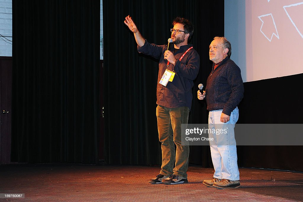 Director Jacob Kornbluth and author Robert Reich speak onstage during the 'Inequality For All' premiere at Prospector Square during the 2013 Sundance Film Festival on January 19, 2013 in Park City, Utah.