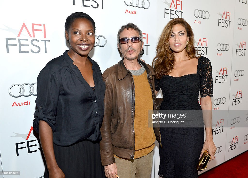 Director Jacqueline Lyanga, writer/director Leos Carax, and actress Eva Mendes arrive at the 'Holy Motors' special screening during the 2012 AFI Fest at Grauman's Chinese Theatre on November 3, 2012 in Hollywood, California.