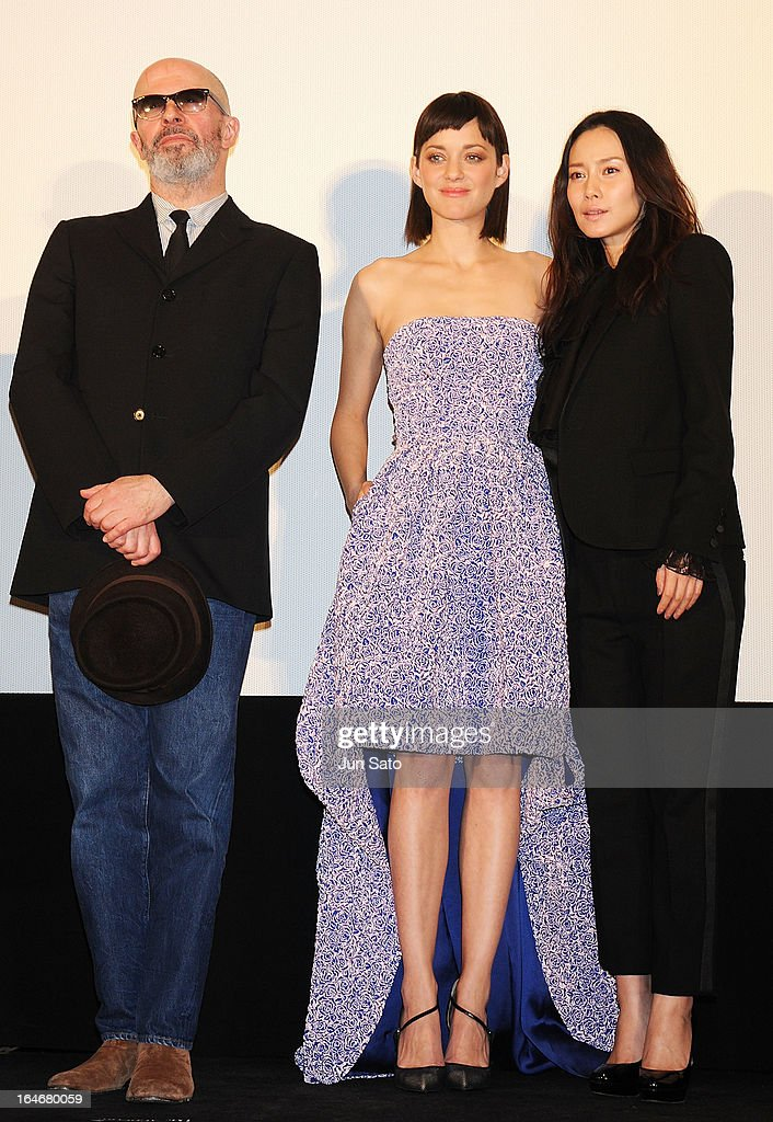 Director Jacques Audiard, actresses Marion Cotillard and Miki Nakatani attend the 'Rust And Bone (De rouille et d'os)' Japan Premiere at Marunouchi Piccadilly on March 26, 2013 in Tokyo, Japan.