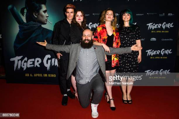 Director Jakob Lass Ella Rumpf Maria Dragus producer Ines Schiller and producer Golo Schultz attend the premiere of the film 'Tiger Girl' at Zoo...
