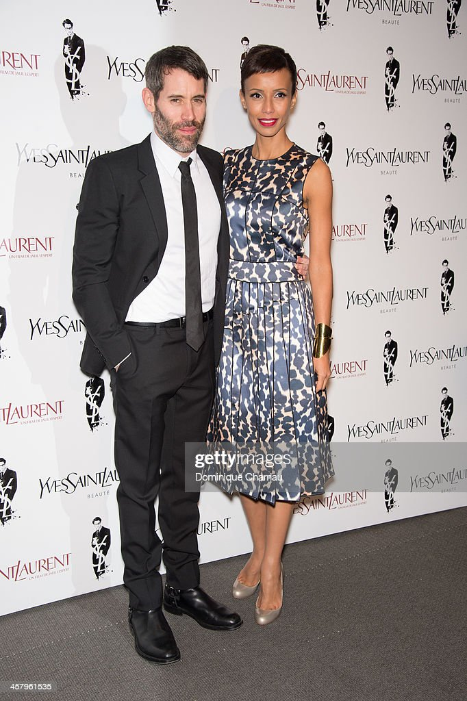 Director Jalil Lespert and his wife Sonia Rolland attend the 'Yves Saint Laurent' Paris Premiere at Cinema UGC Normandie on December 19, 2013 in Paris, France.