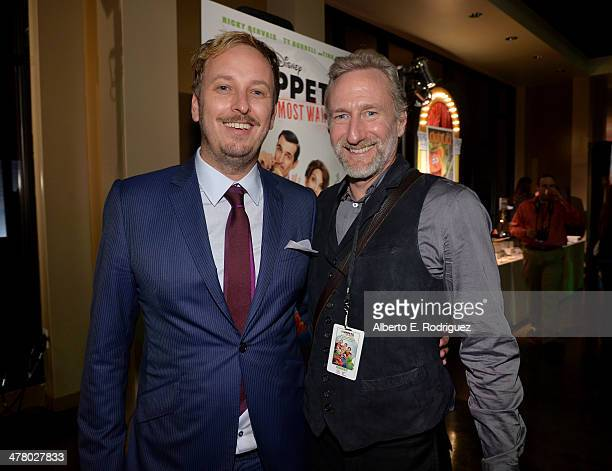 Director James Bobin and puppeteer Brian Henson attend the world premiere of Disney's 'Muppets Most Wanted' after party at The Annex on March 11 2014...