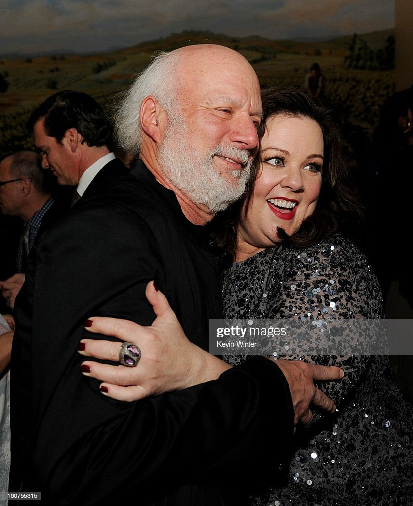 Director <a gi-track='captionPersonalityLinkClicked' href=/galleries/search?phrase=James+Burrows&family=editorial&specificpeople=799504 ng-click='$event.stopPropagation()'>James Burrows</a> (L) and actress Melissa McCarthy pose at the after party for the premiere of Universal Pictures' 'Identity Thief' at Napa Valley Grille on February 4, 2013 in Los Angeles, California.