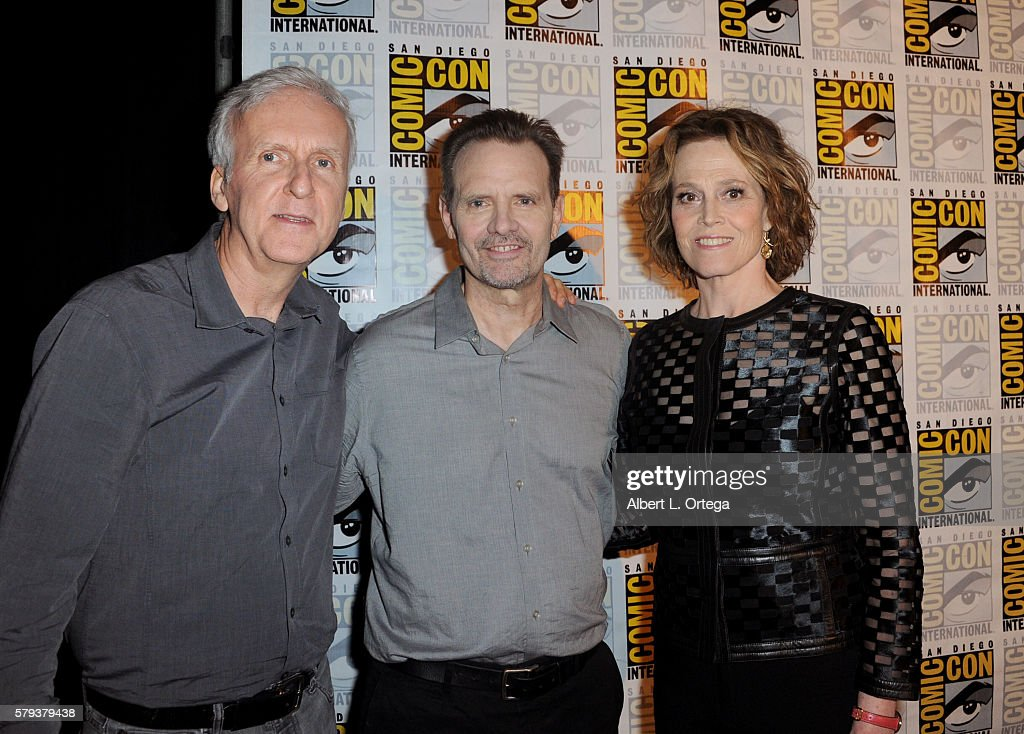 Director James Cameron actors Michael Biehn and Sigourney Weaver attend the 'Aliens 30th Anniversary' panel during ComicCon International 2016 at San...