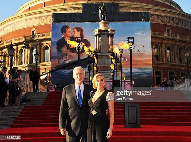 Director James Cameron and actress Kate Winslet attend the 'Titanic 3D' world premiere at the Royal Albert Hall on March 27 2012 in London England