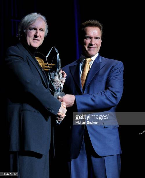 Director James Cameron and Governor Arnold Schwarzenegger attend the Lucky Denim Modern Master Award at the 25th Annual Santa Barbara International...
