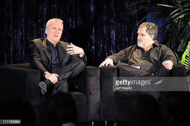Director James Cameron and producer Jon Landau speak at the 'Avatar' Global Media Day in celebration of the April 22nd Earth Day Bluray Disc and DVD...
