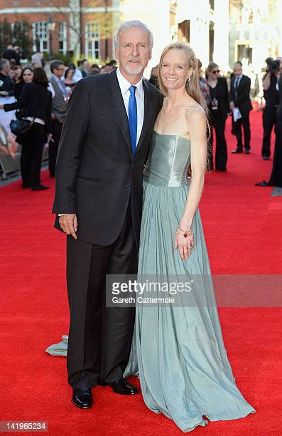 Director James Cameron and Suzy Amis Cameron attend the 'Titanic 3D' World Premeire at the Royal Albert Hall on March 27 2012 in London England