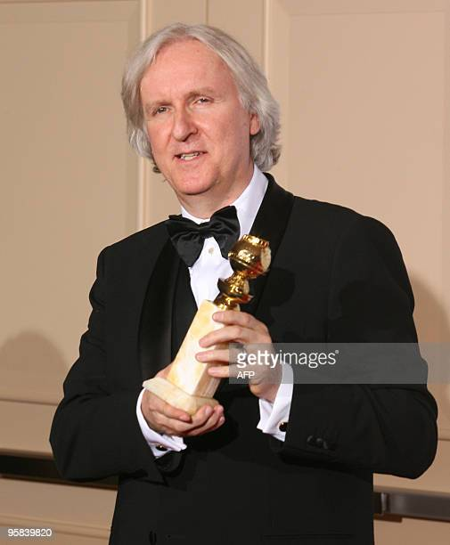 Director James Cameron poses with the trophy for Best Motion PictureDrama for 'Avatar' during the 67th Golden Globe Awards on January 17 2010 in...