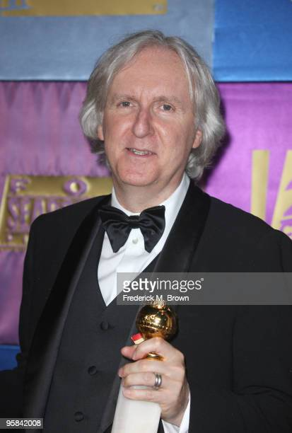 Director James Cameron winner of Best Motion Picture Drama and Best Director awards for 'Avatar' poses arrive at the FOX 2010 Golden Globes Party...