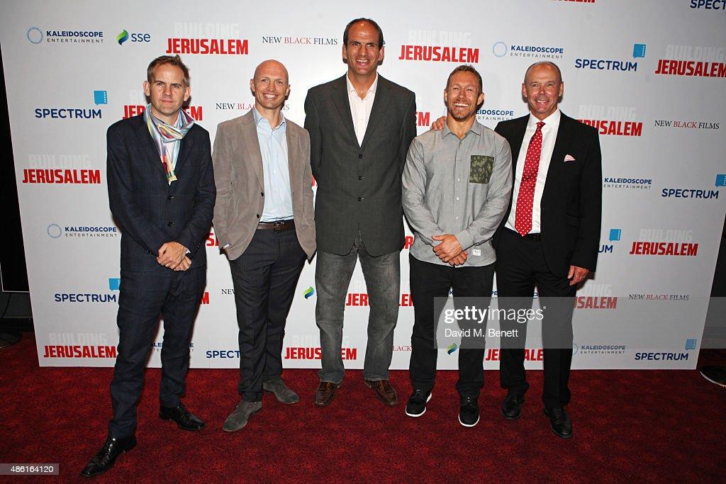 Director James Erskine Matt Dawson Martin Johnson Jonny Wilkinson and Sir Clive Woodward attend the World Premiere of 'Building Jerusalem' at the...