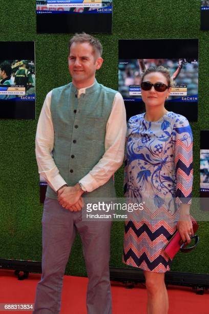 Director James Erskine with wife during the screening of 'Sachin A Billion Dreams' film at PVR on May 24 2017 in Mumbai India British director James...