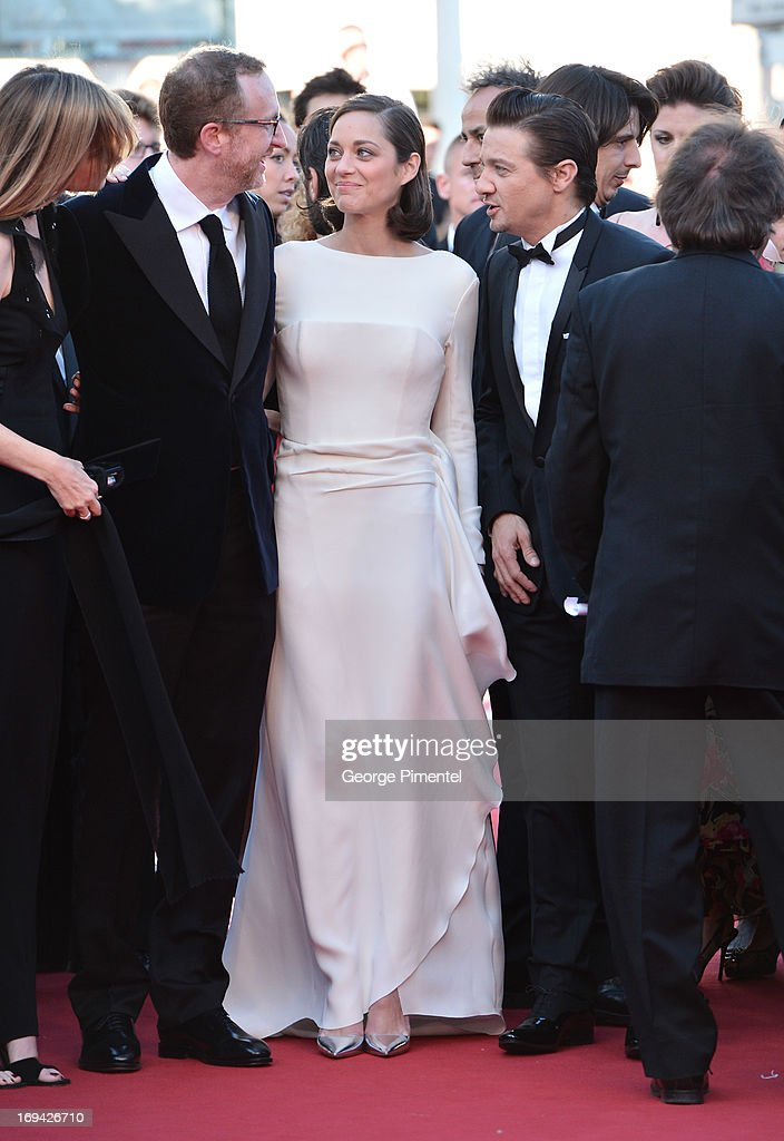 Director James Gray, actress Marion Cotillard and actor Jeremy Renner attend the Premiere of 'The Immigrant' at The 66th Annual Cannes Film Festival at Palais des Festivals on May 24, 2013 in Cannes, France.