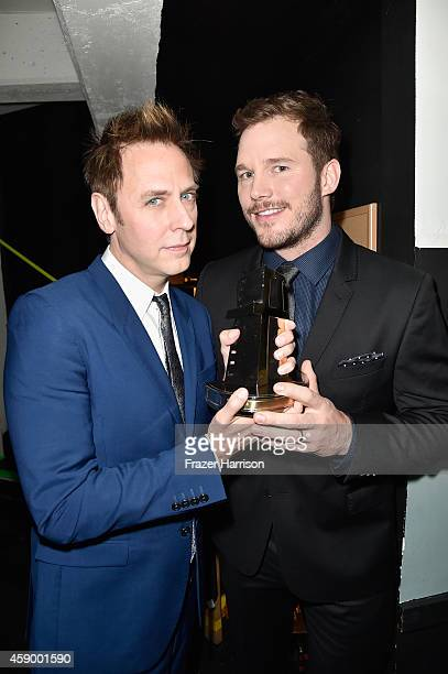 Director James Gunn and actor Chris Pratt pose backstage during the 18th Annual Hollywood Film Awards at The Palladium on November 14 2014 in...