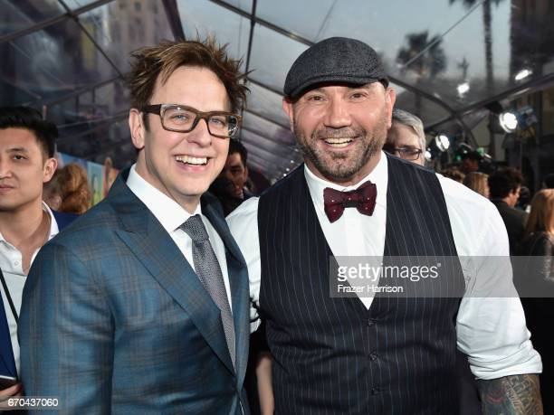Director James Gunn and actor Dave Bautista at the premiere of Disney and Marvel's 'Guardians Of The Galaxy Vol 2' at Dolby Theatre on April 19 2017...