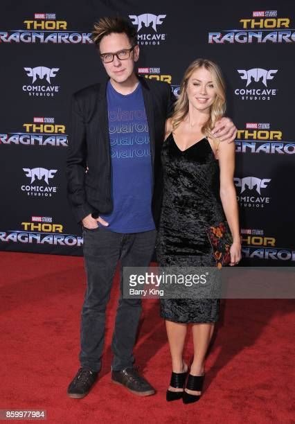 Director James Gunn and Jennifer Holland attend the world premiere of Disney and Marvel's 'Thor Ragnarok' at El Capitan Theatre on October 10 2017 in...
