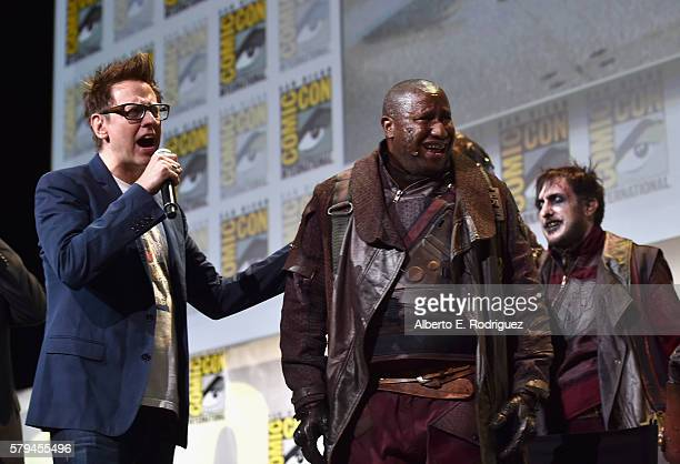 """Director James Gunn and Ravagers from Marvel Studios' 'Guardians Of The Galaxy Vol 2"""" attend the San Diego ComicCon International 2016 Marvel Panel..."""