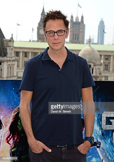 Director James Gunn pose at the 'Guardians of the Galaxy' photocall at The Corinthia Hotel on July 25 2014 in London England