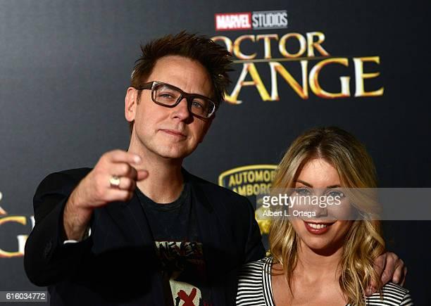 Director James Gunnband Jennifer Holland arrive for the Premiere Of Disney And Marvel Studios' 'Doctor Strange' held at the El Capitan Theatre on...