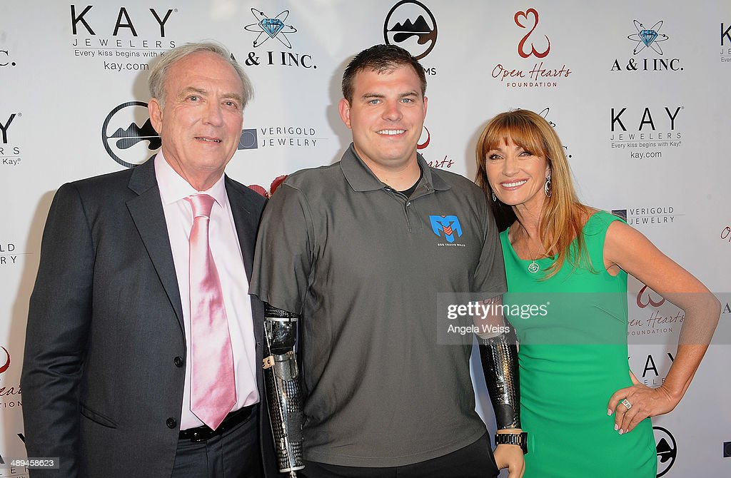 Director James Keach, Travis Mills and actress Jane Seymour attend the 'Open Hearts Foundation Gala' on May 10, 2014 in Malibu, California.