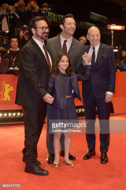 Director James Mangold actors Dafne Keen Hugh Jackman and Patrick Stewart attend the 'Logan' premiere during the 67th Berlinale International Film...