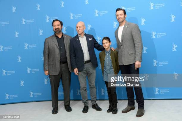 Director James Mangoldactors Patrick Stewart Dafne Keen and Hugh Jackman attend the 'Logan' photo call during the 67th Berlinale International Film...