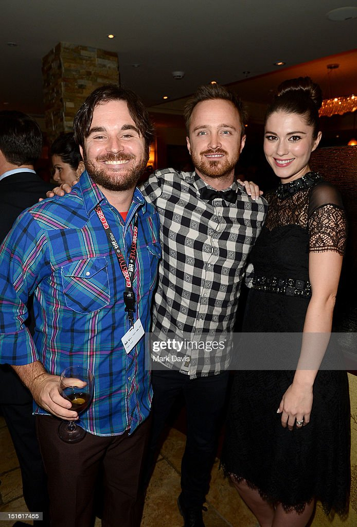 Director James Ponsoldt, actor <a gi-track='captionPersonalityLinkClicked' href=/galleries/search?phrase=Aaron+Paul+-+Actor&family=editorial&specificpeople=693211 ng-click='$event.stopPropagation()'>Aaron Paul</a>, and actress <a gi-track='captionPersonalityLinkClicked' href=/galleries/search?phrase=Mary+Elizabeth+Winstead&family=editorial&specificpeople=782914 ng-click='$event.stopPropagation()'>Mary Elizabeth Winstead</a> attend the Sony Pictures cocktail hour during the 2012 Toronto International Film Festival at the Creme Brasserie on September 8, 2012 in Toronto, Canada.
