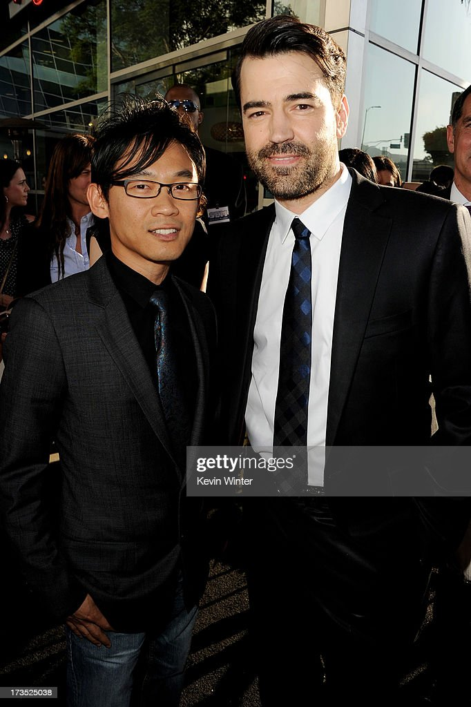 Director <a gi-track='captionPersonalityLinkClicked' href=/galleries/search?phrase=James+Wan&family=editorial&specificpeople=242996 ng-click='$event.stopPropagation()'>James Wan</a> (L) and actor <a gi-track='captionPersonalityLinkClicked' href=/galleries/search?phrase=Ron+Livingston&family=editorial&specificpeople=213878 ng-click='$event.stopPropagation()'>Ron Livingston</a> arrive at the premiere of Warner Bros. 'The Conjuring' at the Cinerama Dome on July 15, 2013 in Los Angeles, California.