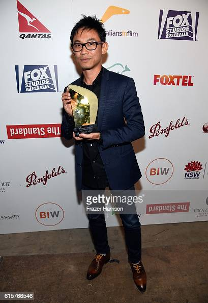 Director James Wan poses with the Fox Studios Australia International Award during Australians In Film's 5th Annual Awards Gala at NeueHouse...