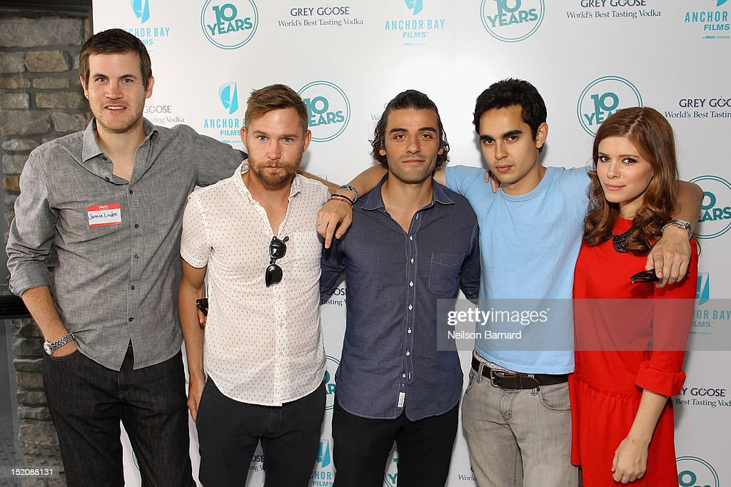 Director Jamie Linden and actors Brian Geraghty, Oscar Isaac, Max Minghella and Kate Mara attend '10 Years' brunch reunion event hosted by GREY GOOSE Vodka And Anchor Bay Films at Hotel Chantelle on September 16, 2012 in New York City.