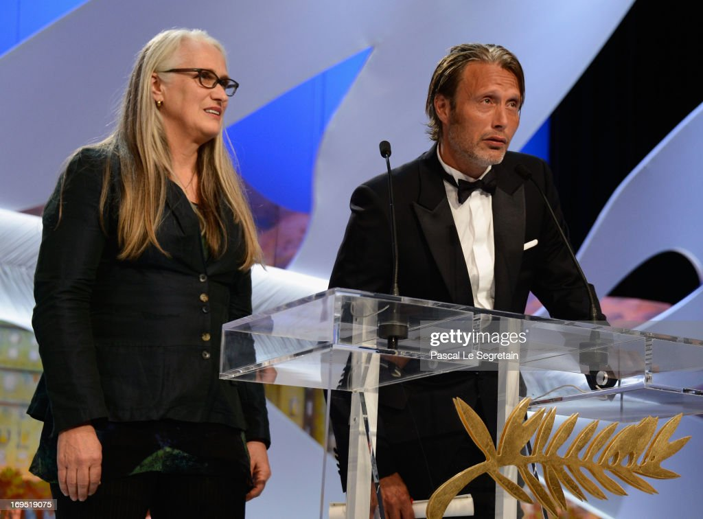 Director <a gi-track='captionPersonalityLinkClicked' href=/galleries/search?phrase=Jane+Campion&family=editorial&specificpeople=616530 ng-click='$event.stopPropagation()'>Jane Campion</a>, president of the Cinefondation and short film jury and actor <a gi-track='captionPersonalityLinkClicked' href=/galleries/search?phrase=Mads+Mikkelsen&family=editorial&specificpeople=3003791 ng-click='$event.stopPropagation()'>Mads Mikkelsen</a> attend Closing Ceremony during the 66th Annual Cannes Film Festival at the Palais des Festivals on May 26, 2013 in Cannes, France.