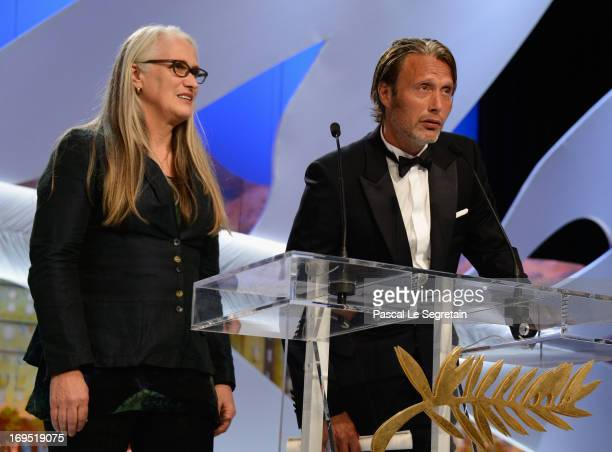 Director Jane Campion president of the Cinefondation and short film jury and actor Mads Mikkelsen attend Closing Ceremony during the 66th Annual...