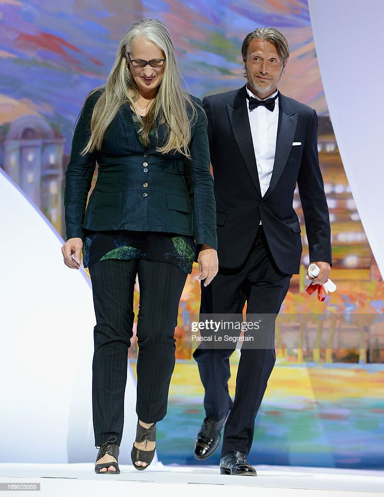 Director Jane Campion, president of the Cinefondation and short film jury and actor Mads Mikkelsen arrive on stage at the Inside Closing Ceremony during the 66th Annual Cannes Film Festival at the Palais des Festivals on May 26, 2013 in Cannes, France.