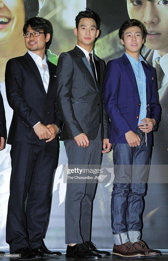 Director Jang ChulSoo Kim SooHyun and Lee HyunWoo attend the 'Secretly and Greatly' press conference at COEX Megabox on May 27 2013 in Seoul South...
