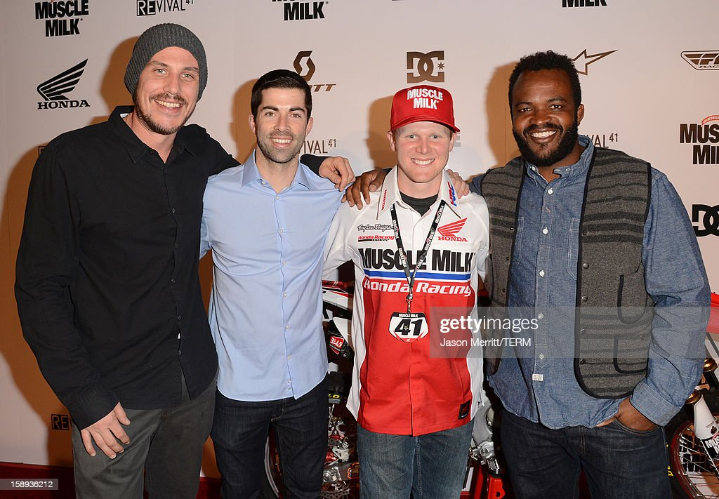Director Jason Bergh, Shane McCassy, supercross champion Trey Canard, and producer <a gi-track='captionPersonalityLinkClicked' href=/galleries/search?phrase=Sal+Masekela&family=editorial&specificpeople=572654 ng-click='$event.stopPropagation()'>Sal Masekela</a> attend the Trey Canard 'REvival 41' premiere held at UltraLuxe Cinemas at Anaheim GardenWalk on January 3, 2013 in Anaheim, California.