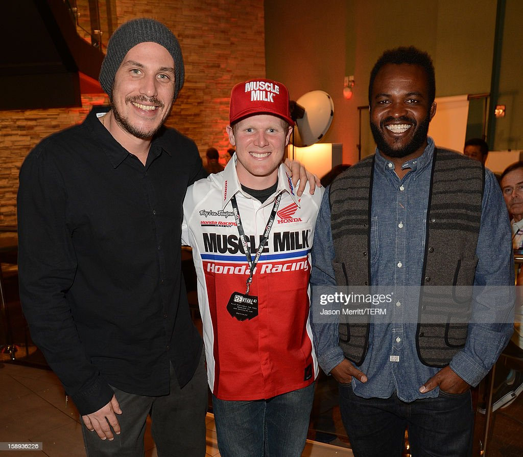 Director Jason Bergh, supercross champion Trey Canard, and producer <a gi-track='captionPersonalityLinkClicked' href=/galleries/search?phrase=Sal+Masekela&family=editorial&specificpeople=572654 ng-click='$event.stopPropagation()'>Sal Masekela</a> attend the Trey Canard 'REvival 41' premiere held at UltraLuxe Cinemas at Anaheim GardenWalk on January 3, 2013 in Anaheim, California.