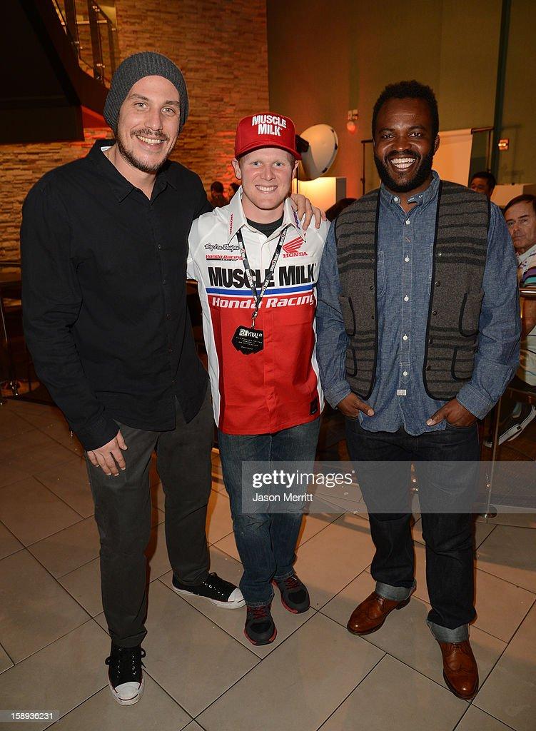 Director Jason Bergh, supercross champion Trey Canard, and producer Sal Masekela attend the Trey Canard 'REvival 41' premiere held at UltraLuxe Cinemas at Anaheim GardenWalk on January 3, 2013 in Anaheim, California.