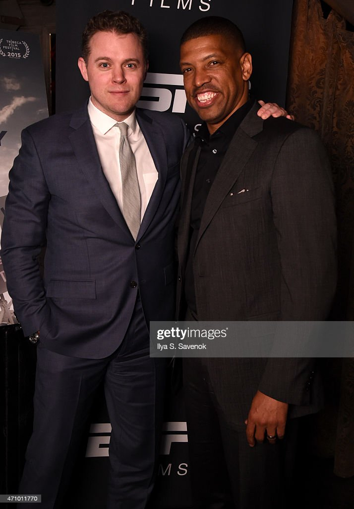Director Jason Hehir and Kevin Johnson attend the premiere of 'ESPN Down In The Valley' during the 2015 Tribeca Film Festiva at the SVA Theater on...