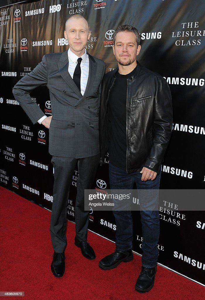 Director Jason Mann and actor Matt Damon attend the Project Greenlight Season 4 Winning Film premiere 'The Leisure Class' presented by Matt Damon, Ben Affleck, Adaptive Studios and HBO at The Theatre at Ace Hotel on August 10, 2015 in Los Angeles, California.