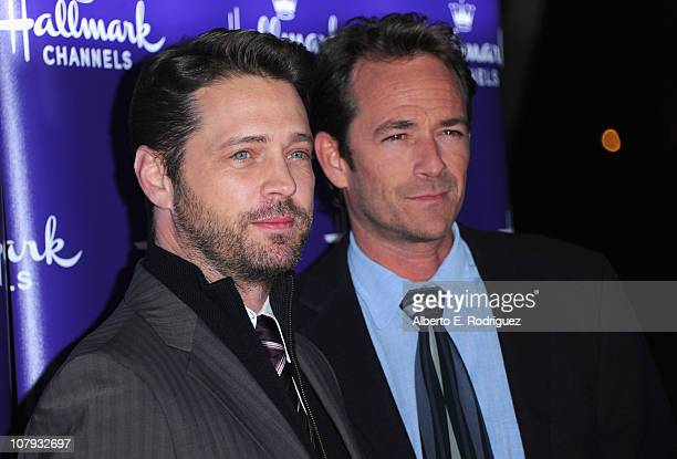 Director Jason Priestley and actor Luke Perry arrive to Hallmark Channel's 2011 TCA Winter Tour Evening Gala on January 7 2011 in Pasadena California