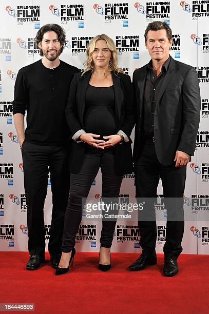 Director Jason Reitman actors Kate Winslet and Josh Brolin attend the photocall for 'Labor Day' during the 57th BFI London Film Festival at The...