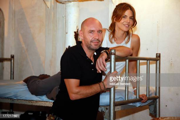 Director Jaume Balaguero and actress Manuela Velasco pose on the set of their latest movie 'Rec 4 Apocalipsis' being filmed at Parc Audiovisual de...